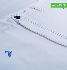 กางเกงสามส่วนแฟชั่นผุ้ชายอ้วนสีขาวลายปลาโลมา ซูม2