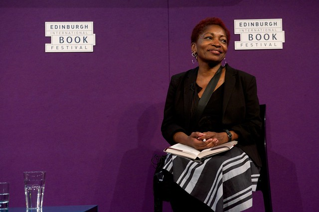 Bonnie Greer on stage at the Edinburgh International Book Festival