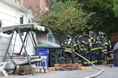 Shed Fire, 34 Cutter St, East Somerville (Rob Bellinger) Tags: rescue boston bench fire backyard action massachusetts shed spray hose bin oxygen somerville hammock rocking fighting melted department firefighters tanks sfd engine2 toter rescue1