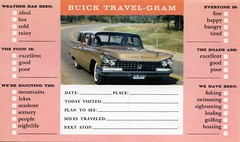 Buick Travel-Gram (Edge and corner wear) Tags: auto cars vintage advertising pc automobile postcard advertisement busy card 1960s persons trade
