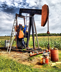 Ohio oil well (SteveMather) Tags: ohio usa clean oh 4s topaz northeastern iphone adjust 2014