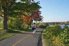 The conditions on bike paths: bright colors (beyondhue) Tags: bike path ottawa river summer fall autumn beyondhue maple tree red green bicycle woman biking