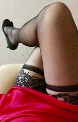 Another naughty morning (TVNicola & Mistress) Tags: sissy suede highheels red slip satin pink holdups stockings black