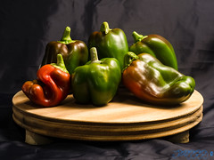 Pepper Modelling [Week 41, 2016] (Brian D' Rozario) Tags: brian19869 briandrozario nikon d7000 d7k stilllife peppers green red flashpoint sb700 wood creative veg vegetables vegetable hot fresh produce organic 522016week41 giveusyourbestshot