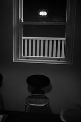 reflecting on enlightenment  #517 (lynnb's snaps) Tags: 1100 35mm rodinal abstract bw chairs film standdevelop waiting agfa apx100 leica iiic cv35mmf25ltm rangefinder blackandwhite noiretblanc chair lightbulb window 2016 ishootfilm thisiswhyilovefilm upgradetofilm vintagecameraphotography analogphotography v700 blackwhite bianconero monochrome schwarzweis biancoenero 黒と白 bianconegro analogue analog lynnburdekinphotography 35mmfilm