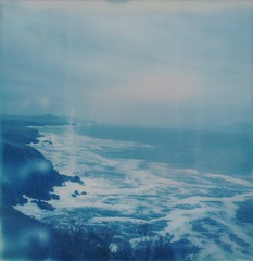 (mari-ann curtis) Tags: marianncurtis travel wanderlust nostalgia ireland colour light summer coast dingle peninsula sx70 impossibleproject polaroid waves sea atlantic cloudy blue whitehorses adventure view cliffs