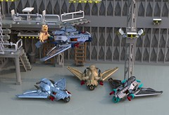 Speeders, hangars and cyclopses (Count Sepulchure) Tags: lego speeder ldd virtual cave racer hangar garage cyclops hook br bluerender