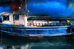 The Old Boat (sbox) Tags: painting painterly boat blue trawler textures old harbour fishing wooden ireland magicunicornverybest