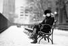 Brooklyn for the Winter (Thomas Hawk) Tags: america brooklyn juliapeterson manhattan nyc newyork newyorkcity usa unitedstates unitedstatesofamerica bench bw mrsth wife fav10 fav25 fav50 fav100