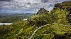 The Quiraing, Isle of Skye, Scotland (vonHabsburg) Tags: scotland schottland isleofskye thequiraing quiraing road hill hgel strasse grn green mountains berge kliff klippen clouds wolken see sea loch view viewpoint