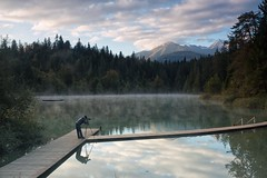 The Photographer (Marcel Cavelti) Tags: bq0a8404bearb fotograf crestasee lake cresta sunrise photographer outdoor forest mountain swiss alps alpin flims laax trin mulin grisons switzerland