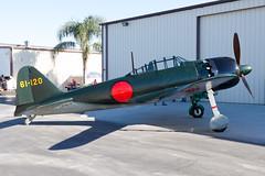 Planes of Fame Mitsubishi A6M5 NX46770 (jbp274) Tags: cno kcno chino airport airplanes museum airmuseum planesoffame display vintage restored mitsubishi a6m zero