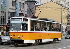 Tram 3011 Route 18 Sofia Bulgaria (David Russell UK) Tags: public transport tram vehicle train rail railway road railroad electric overhead pantograph power number 3011 route 18 city sofia bulgaria