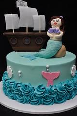 Mermaids and pirates birthday cake (jennywenny) Tags: pirate ship mermaid birthday cake under sea ocean sand dollar