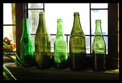 Green Bottles. (thepoocher7) Tags: green shades shadesofgreen olivegreen aloevera aloe plant windowlight windowsill light shadows oldbottles greenbottles dirtywindow leadedglass oldwindow antique lovely pretty beautiful homey pleasant indoor