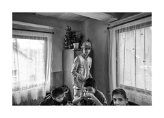 Boys in the kitchen (Jan Dobrovsky) Tags: bw countrylife countryside document gypsies indoor krasnalipa northernbohemia roma leica q monochrome