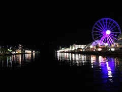 Ferris Wheel night lights by Lake Michigan (Aqua and Coral Imagery) Tags: ferris wheel chicago navy pier lights purple reflections night lake michigan luminous water