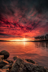 november-12 (Odar Gofot) Tags: sunrise norway red stones water lake landscape lakescape trees forest nature drama dramatic clouds sky