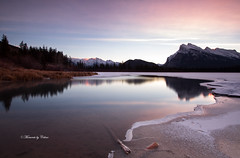 Vermillion ice break! Explore 3-12-2016 (Canon Queen Rocks (1,130,000 + views)) Tags: water reflections ice mountains mountainpeak outdoors pinks nature nationalpark banff banffnationalpark dawn sunrise morning alberta canada outdoor mount rundle frost frozen december