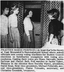 Voting machine demonstration at Hammarskjold Jr. High School, 1964 (Ereiss1) Tags: vintage eastbrunswick nj