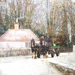 Riding through the snow (Lemon~art) Tags: horse cart winter snow wonderland cottage smoke chimney trees manipulation photomontage texture