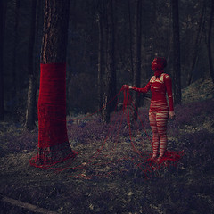 what life is made of (brookeshaden) Tags: trees girl forest blood woods creepy fineartphotography darkart lifeblood conceptualphotography redyarn brookeshaden lifegivinglife lifetakinglife