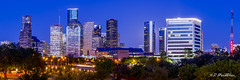 Houston City Skyline Panorama (dewebphoto) Tags: park street city blue sky panorama usa tree skyline architecture skyscraper twilight cityscape texas dusk contemporary officebuilding houstontexas lighttrail urbanscene buildingexterior architectureandbuildings downtowndistrict builtstructure dewebnet davidshvartsman