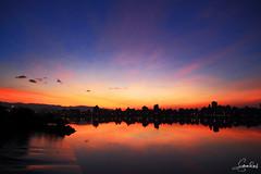 July 12, 2014 Sunrise in Taipei 忠孝碼頭晨彩 (Steven Weng) Tags: sunrise canon eos taiwan taipei 台灣 台北 日出 晨彩 eos5d2 忠孝碼頭