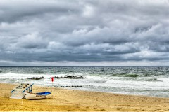 Rough Seas (aka Buddy) Tags: ocean red summer sky beach water clouds boat stand newjersey sand flag guard nj atlantic og hdr springlake 2014