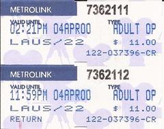 MLtktLAUS04APR00 (By Air, Land and Sea) Tags: california railroad train losangeles suburban rail ticket commuter metrolink