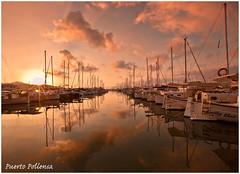 Puerto Pollensa, Majorca (Heathcliffe2) Tags: sunset sea sky colour marina sunrise reflections boats puerto marine yachts mallorca pollensa majorca