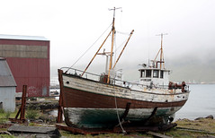 Old barge in Seyisfjrur/Iceland (roomman) Tags: cloud fish rain weather fog clouds port island town iceland ship village harbour north vessel east rainy maritime fisher land fjord northeast barge maritim 2014 seyisfjrur
