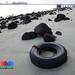 Marine trash - large tyre