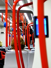 support (Belgrade's Wanderer) Tags: nightphotography red white color contrast canon nightshot tram pole belgrade beograd