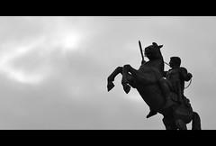 (Warrior on a Horse) (Nikos Niotis) Tags: sky blackandwhite horse history monument fountain statue bronze square greek europe european symbol great central personality figure warrior alexander balkans simple skopje fyrom maced