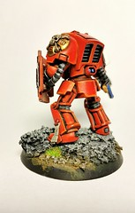Blood angel terminator. Hand painted this a few years ago when I 1st started painting minis. Never did put a decal on the shoulder. This was also the 1st time I made a base out of cork board. (Wyldebeast) Tags: warhammer warhammer40k bloodangel spacemarineterminator