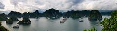Panoramic view of Ha Long Bay (CamelKW) Tags: view aerialview panoramic vietnam halongbay northernvietnam karsthills vietnam2014
