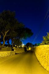 DSCF7674-1 (maliknedir) Tags: blue sky tree yellow night jaune stars lights spain fuji camino bleu route espana ciel espagne nuit arbre chemin menorca baleares etoiles