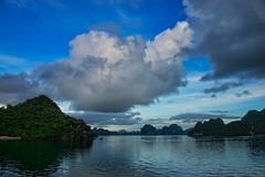 Twilight in Ha Long Bay Vietnam (CamelKW) Tags: clouds twilight vietnam halongbay northernvietnam bluemoment karsthills vietnam2014
