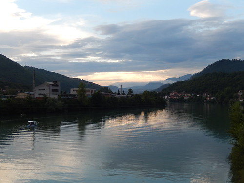 Sunset by the Drina River in Višegrad, Republika Srpska, BiH
