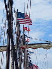 Flag Day In Rochester (ironmike9) Tags: sky water clouds river harbor boat ship waterfront vessel maritime sail nina mast nautical carvel rigging rochesterny pinta