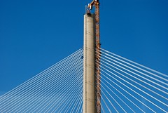 The Third Forth Bridge (Stephen_Hartley) Tags: architecture scotland centralbelt forthbridge building construction crane concrete sky blue a90road firthofforth transport roadbridge buildingsite cablestayedbridge scottishroads scottishgovernment queensferrycrossing steel cabling hochtief