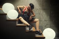 Emma (Pablo Caas) Tags: emmamaggiotti modelo model belleza tut corset globos bolas chinas zapatos tirantes lazo pelo maniqu mueco escalera pose posing fotomontaje fotocomposicin luz light