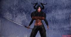Cutting Through The Rain (CeraphKeilah) Tags: underboob breasts boobs horns tattoo secondlife sl katana rain storm cloudy glasses