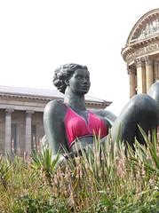 Flozzie wears a bra (Phil_Parker) Tags: birmingham statue breast cancer flowers