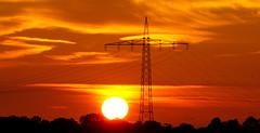 The answer of heaven... (AstridSusann) Tags: himmel sunset stromversorgung mast rot orange birds outdoor oktober2016 autumn emsland germany feld