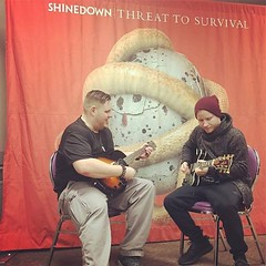 #Repost @krockcny: Jason is getting a personal guitar lesson from Zach of #shinedown courtesy of #krockcny - see you all at the show tonight! #zachmyers (ShinedownsNation) Tags: shinedown nation shinedowns zach myers brent smith eric bass barry kerch