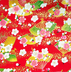 Kyoto yuzen washi 12 (tengds) Tags: handmadepaper japanesepaper yuzenwashi kyotoyuzen washi chiyogami flowers fans red white pink green yellow tengds