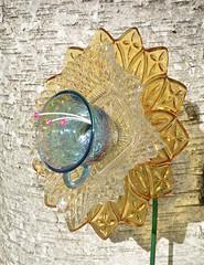 Harvest Flower (NiftyBitsGallery) Tags: garden art flower vintagegarden gardendecor outdoorgardendecor petals glass recycledart transformation floral design outdoorgarden outdoordecor homedecor vintagedecor yellowflower carnival
