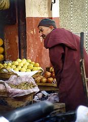 local produce at the corner shop (Tanger, scan 2001) (gled_ros) Tags: marokko market tanger people living scan medina historic